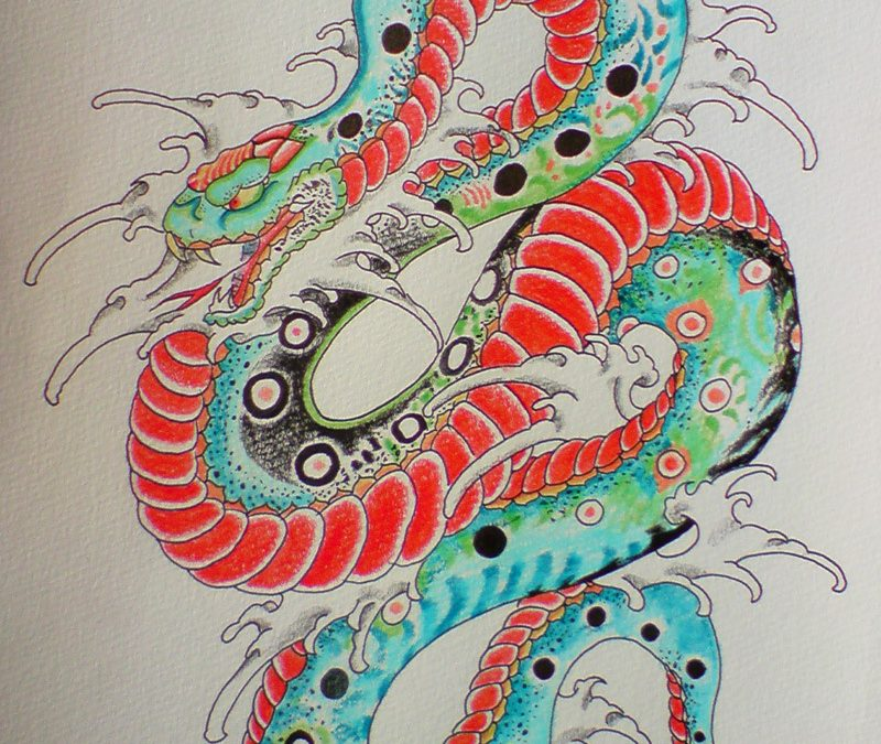 Colorful japanese snake tattoo design