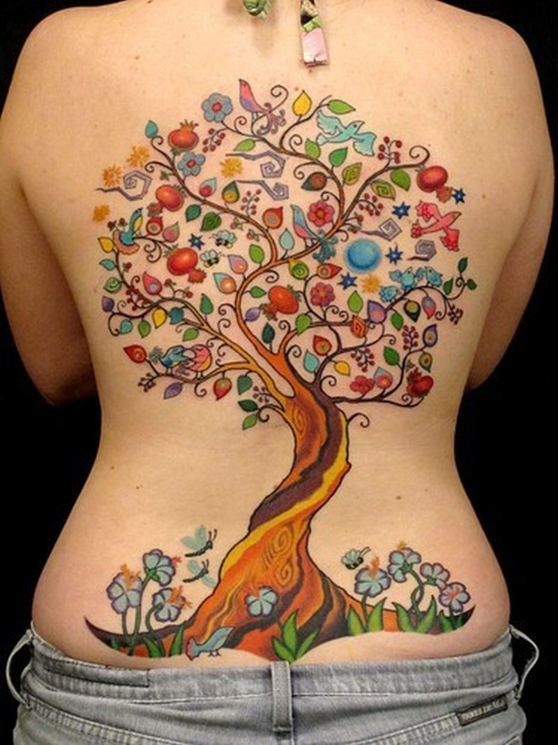 Image result for colorful tree tattoo