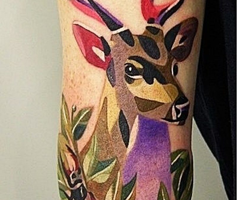 Colourful geometric deer tattoo