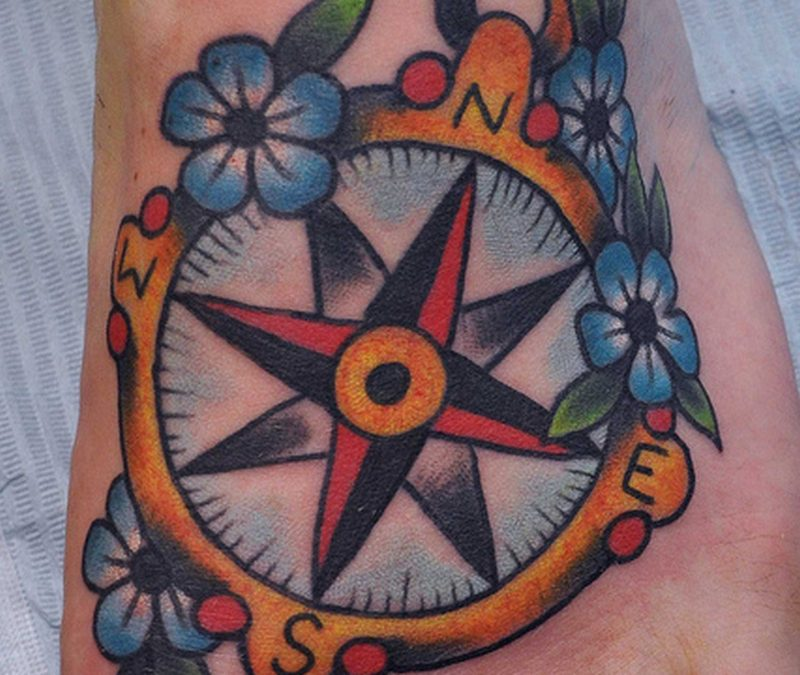 Compass tattoo for foot