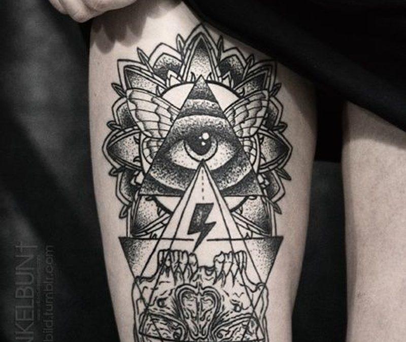 Cool black geometric tattoo on thigh by daniel meyer