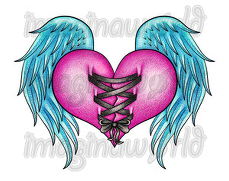 Corset heart tattoo design