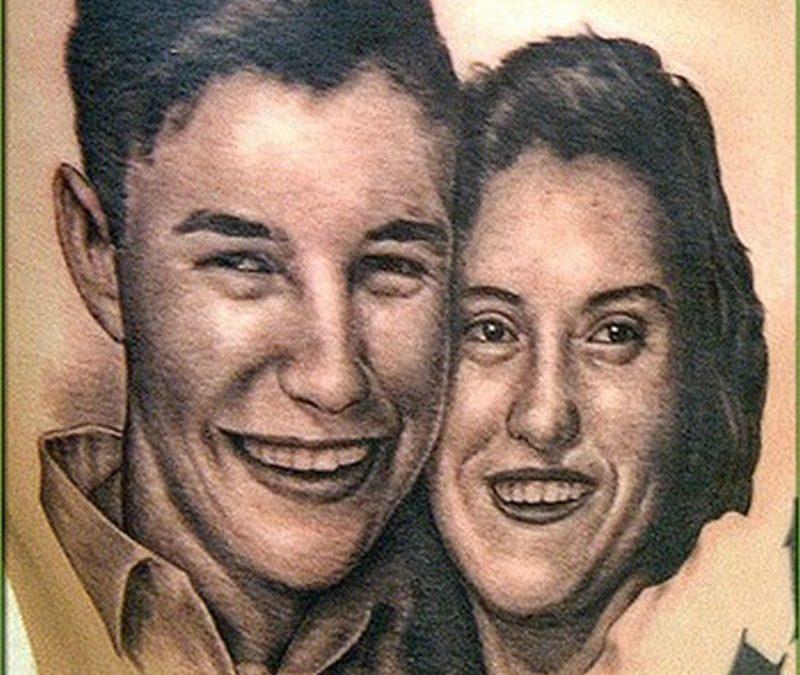Couple portrait tattoo design