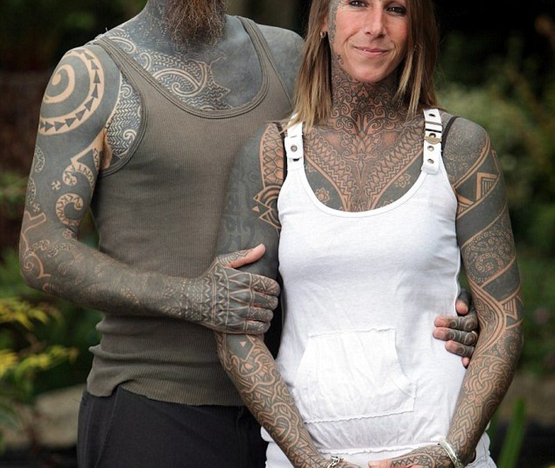 Couple with full body tattoo design