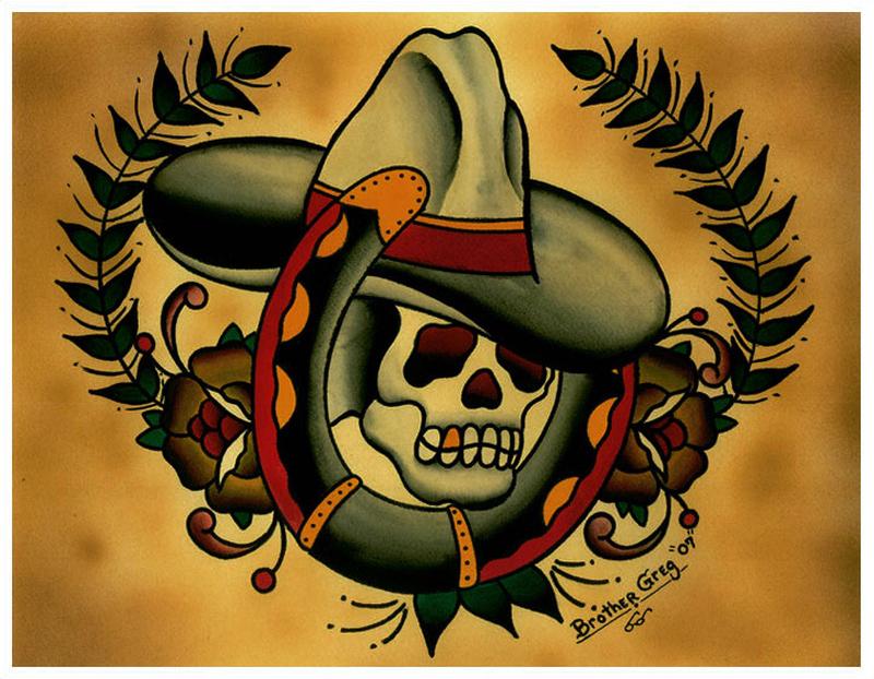 Cowboy skull horseshoe tattoo design