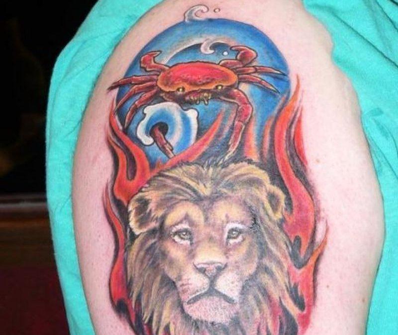 Crab lion tattoo on shoulder