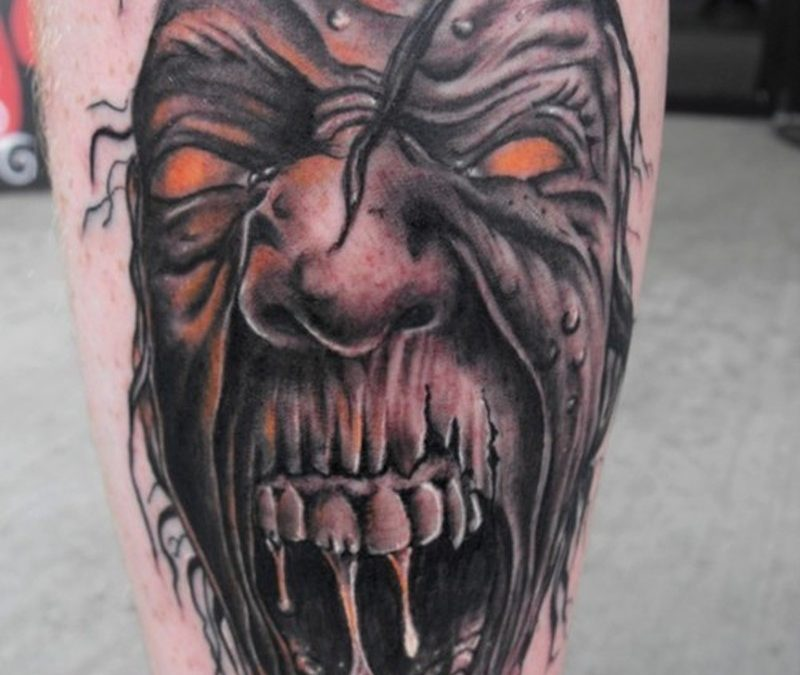 Crawling zombie horror tattoo design