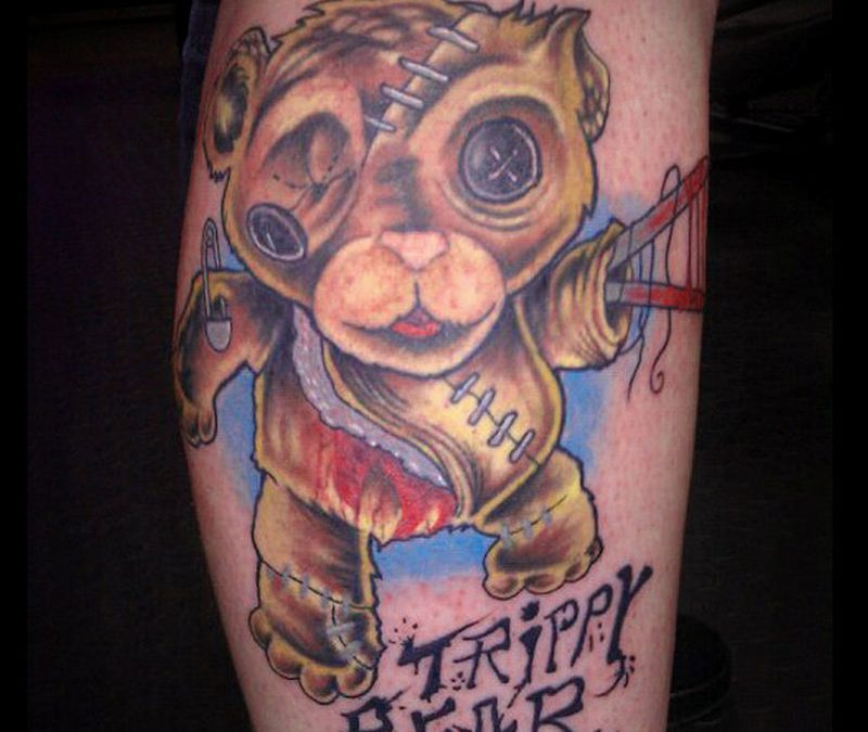 Creepy bear tattoo design
