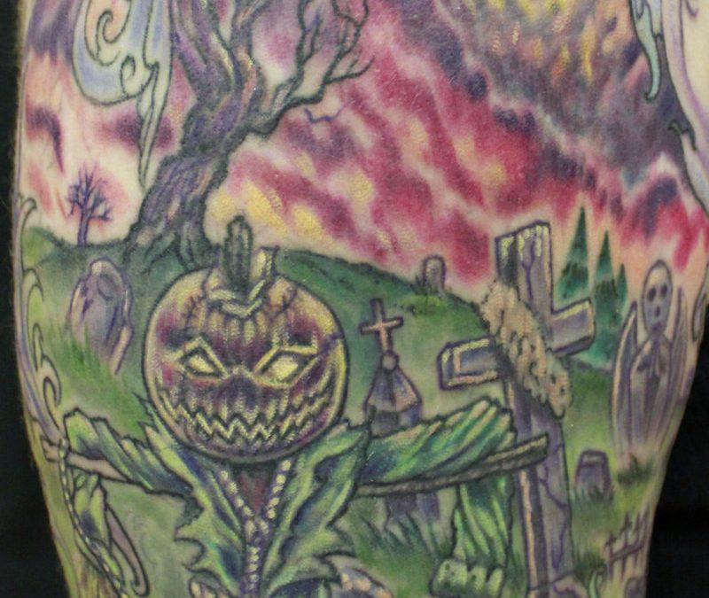 Creepy graveyard tattoo design on half sleeve