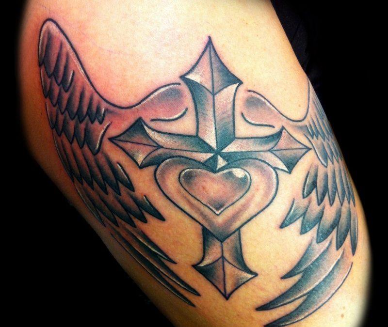 Cross heart n wings tattoo design