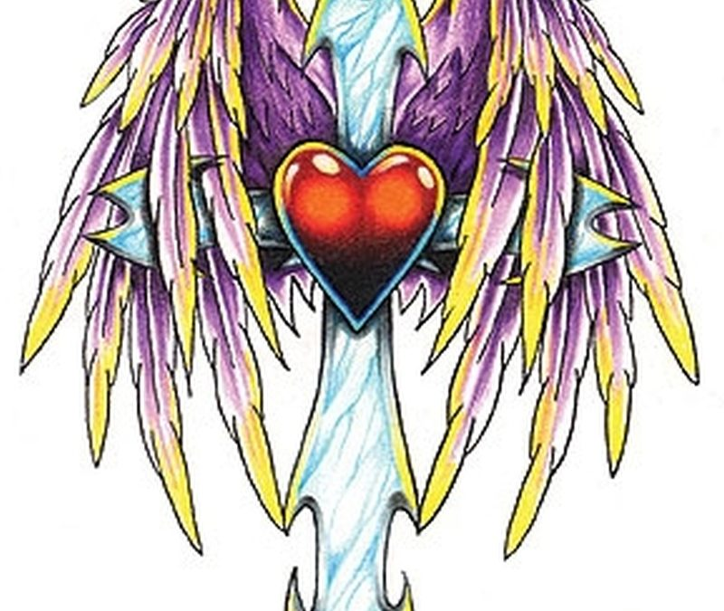 Cross heart with wings tattoo design