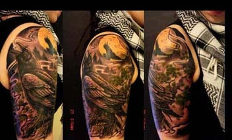 Crow half sleeve tattoo design