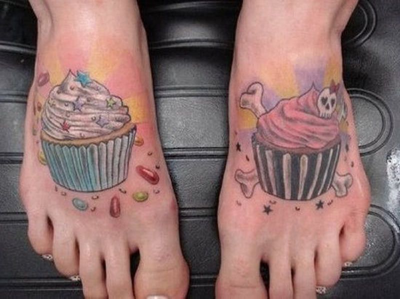 Cup cake tattoo for feet