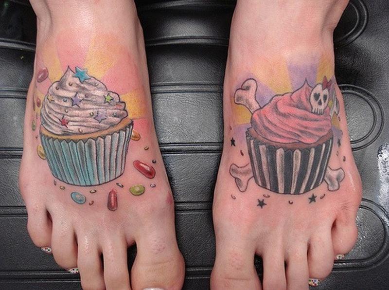 Cupcake friendship tattoo designs on feet