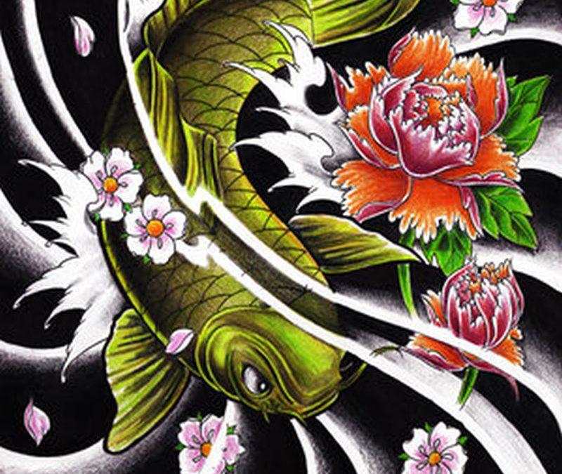 Custom koi fish tattoo design