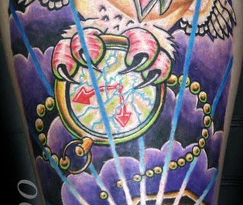 Custom owl diamond eyes tattoo design