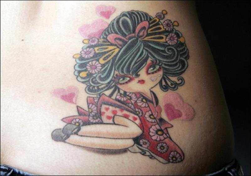 Cute geisha tattoo design on lower back