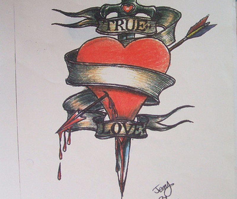 Dagger through a bleeding heart tattoo design