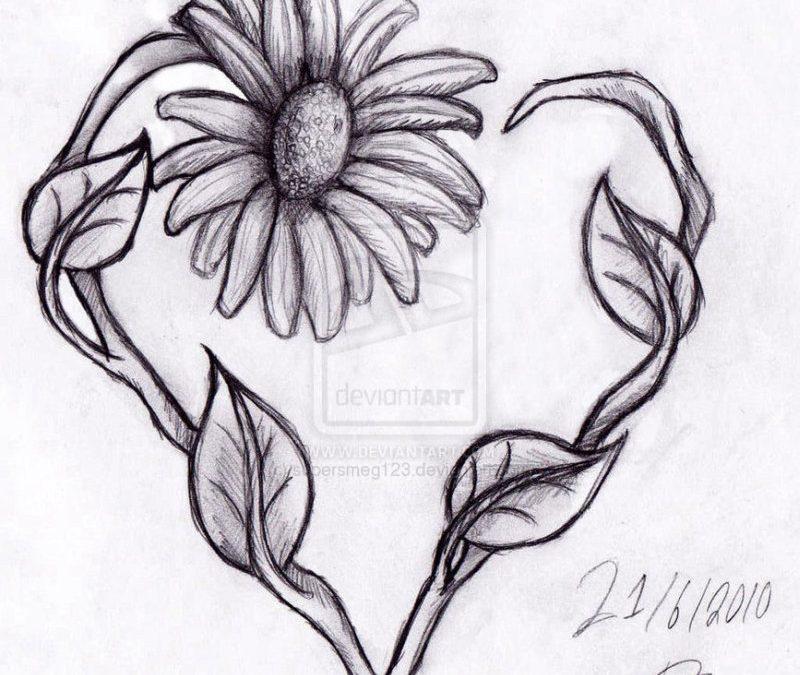Daisy heart tattoo drawing