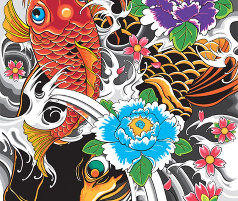 Dance of koi fish tattoo design