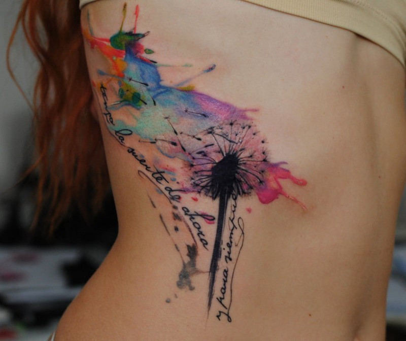Dandelion watercolor tattoo by dopeindulgence