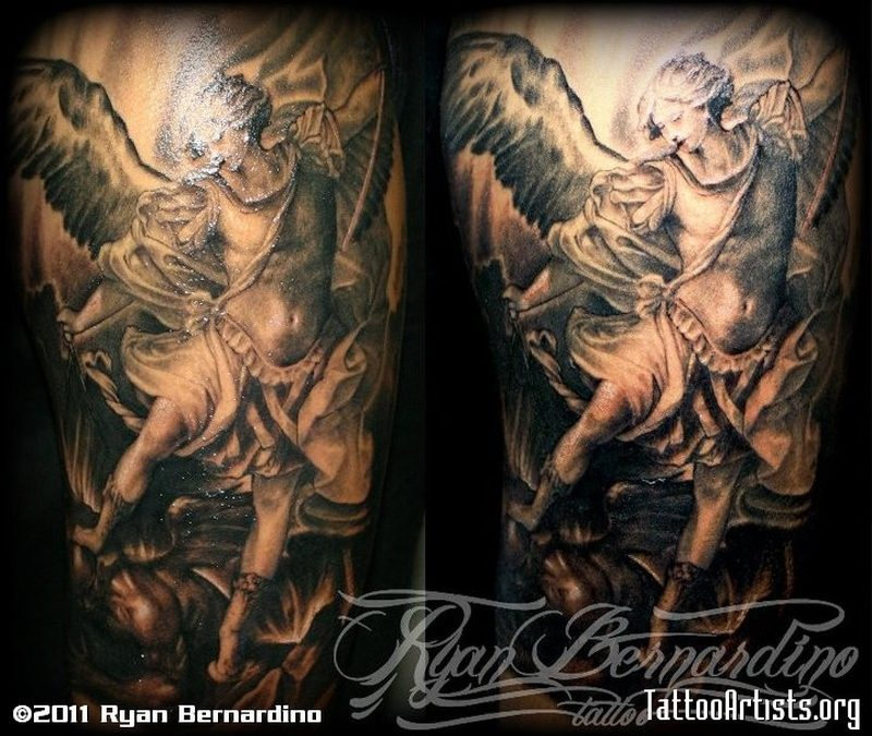 Dark flying angel tattoo design
