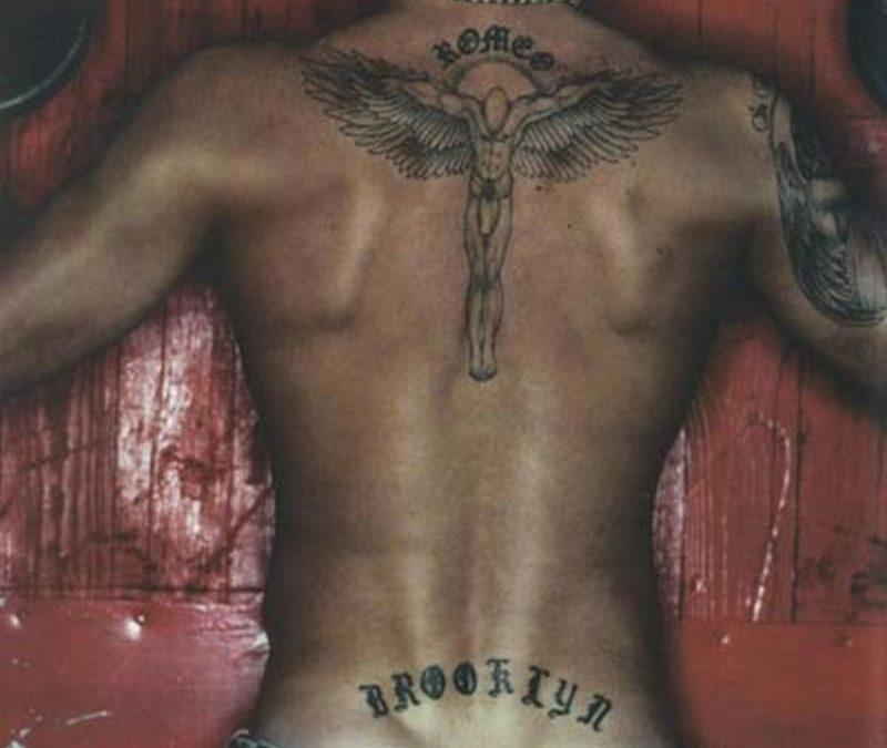David beckham angel tattoo design on back