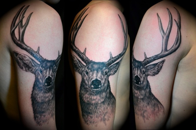 Deer sleeve tattoo design