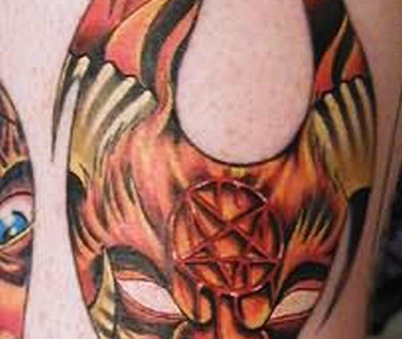 Demon flame tattoo design