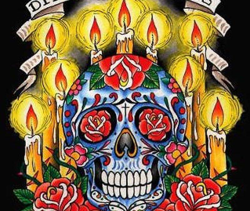 Dia de los muertos candle skull tattoo design