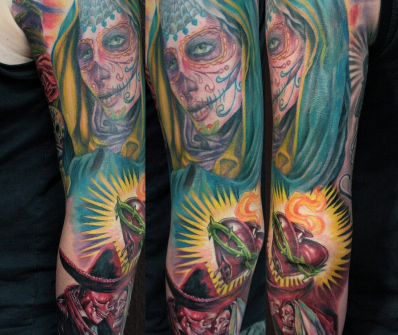 Dia de los muertos heart tattoo design on sleeve
