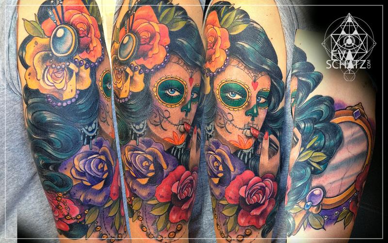 Dia de los muertos lipstick girl tattoo design
