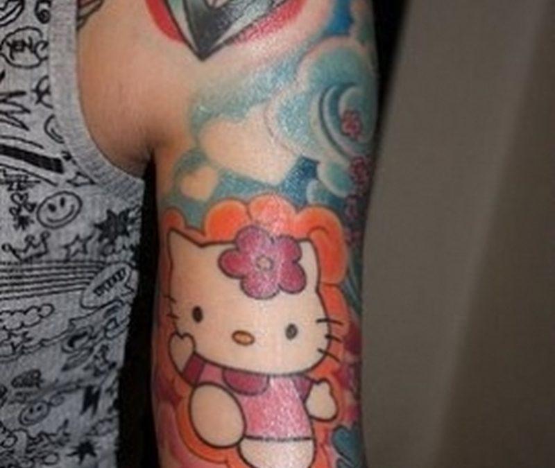 Diamond n hello kitty tattoo design