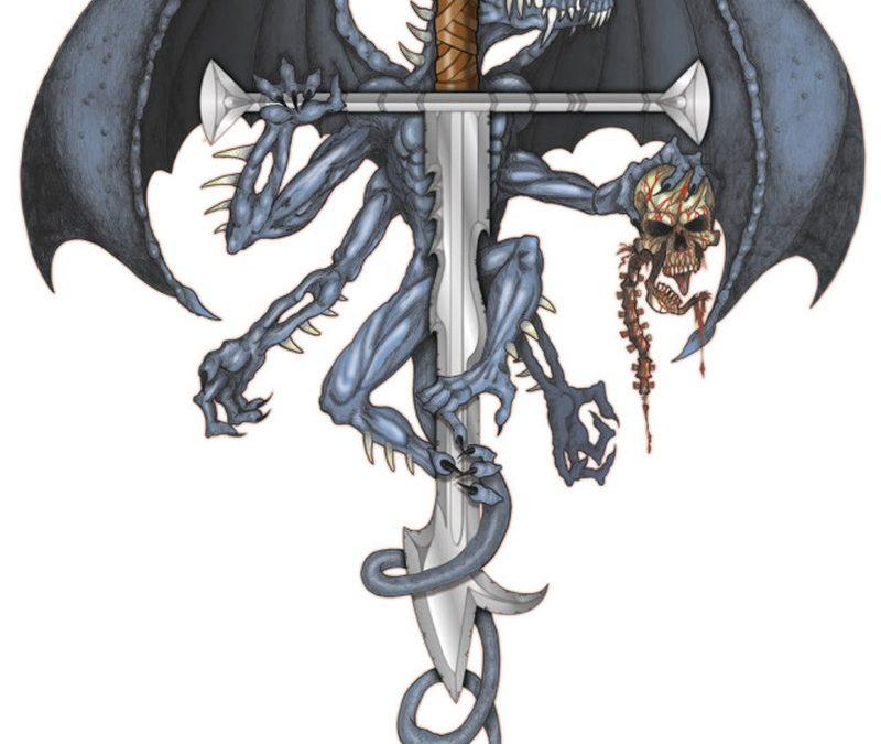 Dragon with sword tattoo design