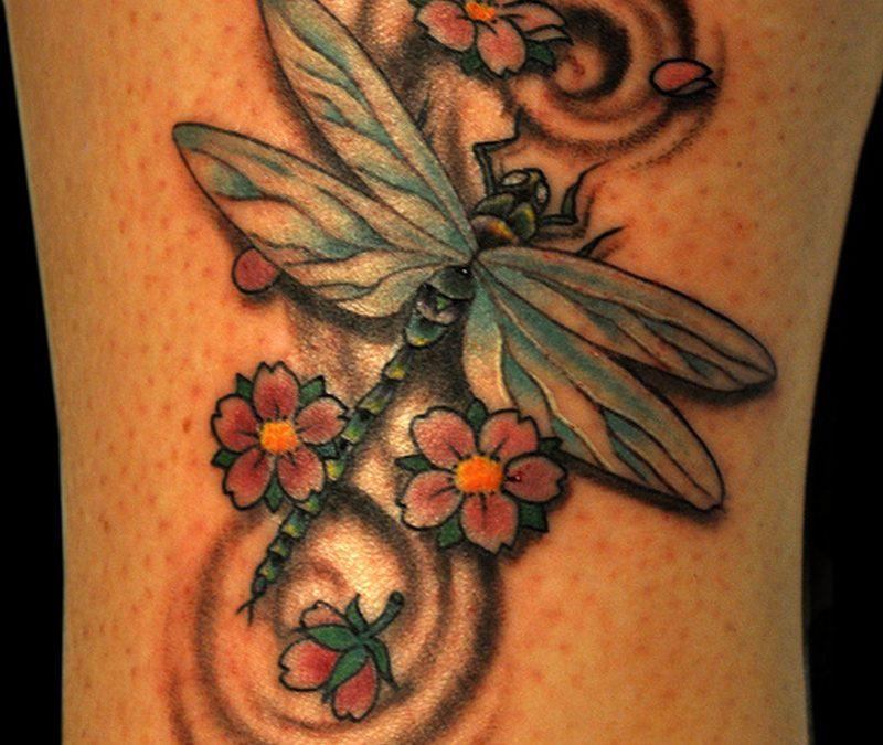Dragonfly n cherry blossom tattoo design