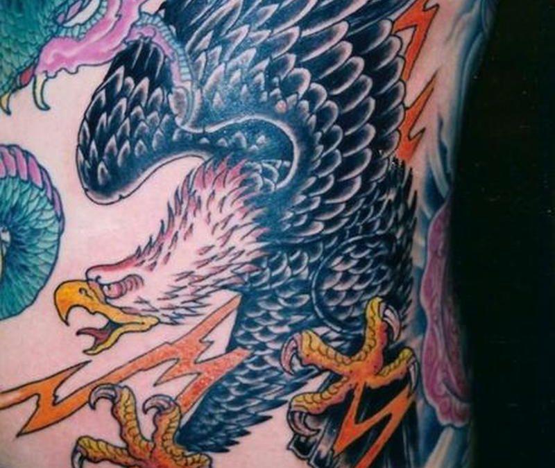 Eagle tattoo design on ribs