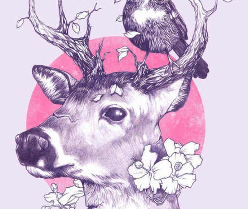 Elegant deer n bird tattoo design
