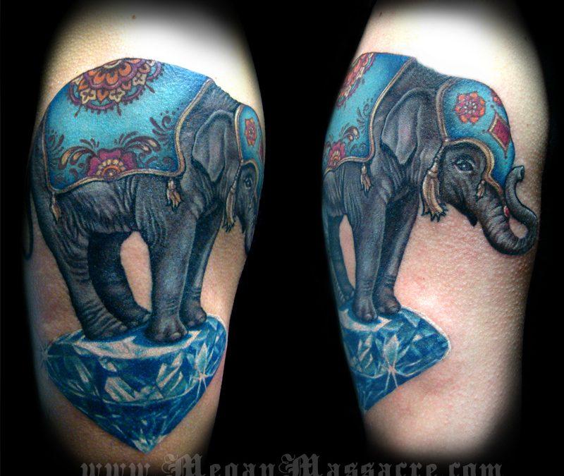 Elephant on a diamond tattoo design