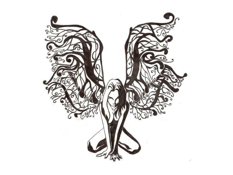 Fairy on the knees tattoo design