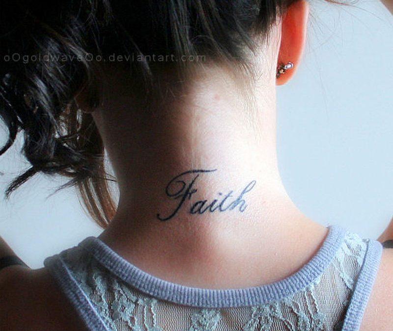 Faith words tattoo on nape