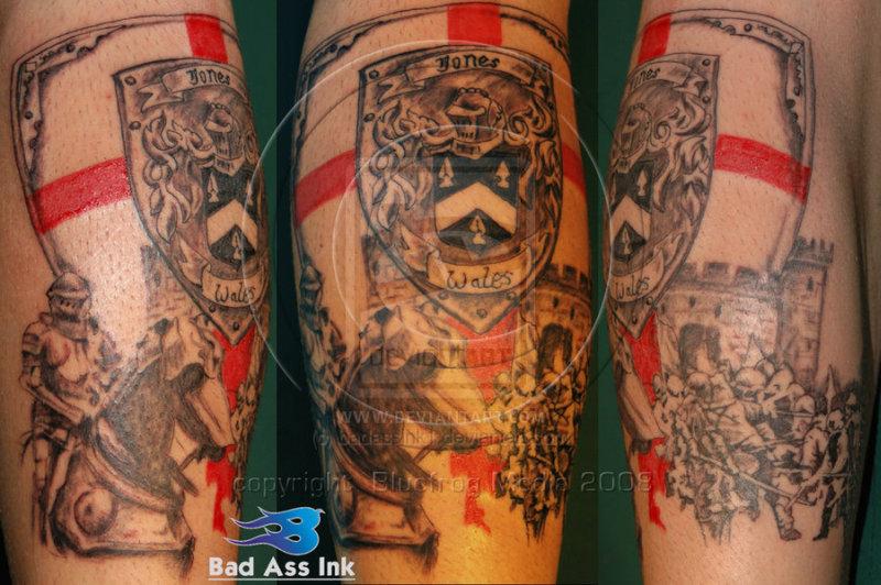 Family crest tattoo on calf