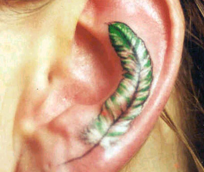 Feather ear tattoo design