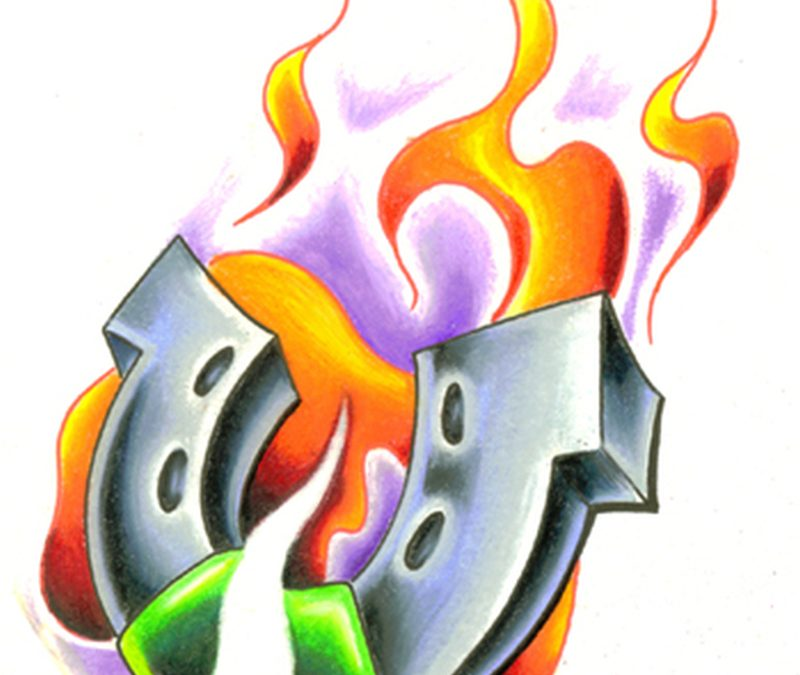 Flames horseshoe tattoo sample