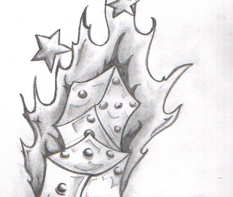 Flaming dice n star tattoo drawing