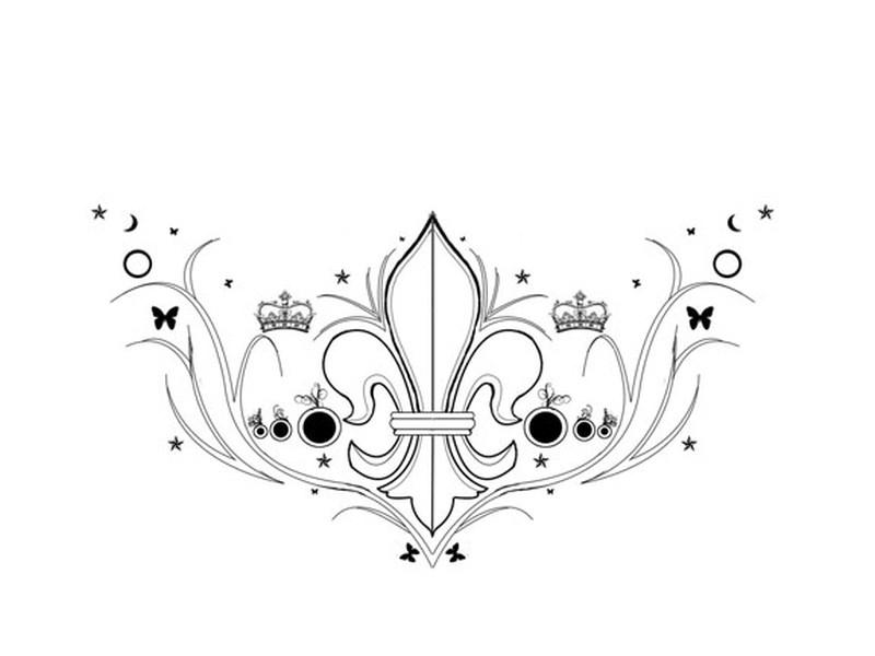 Fleur de lis crown moon stars tattoo designs