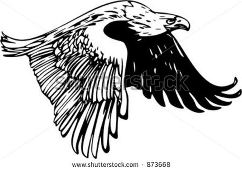 Flying eagle tattoo stencil