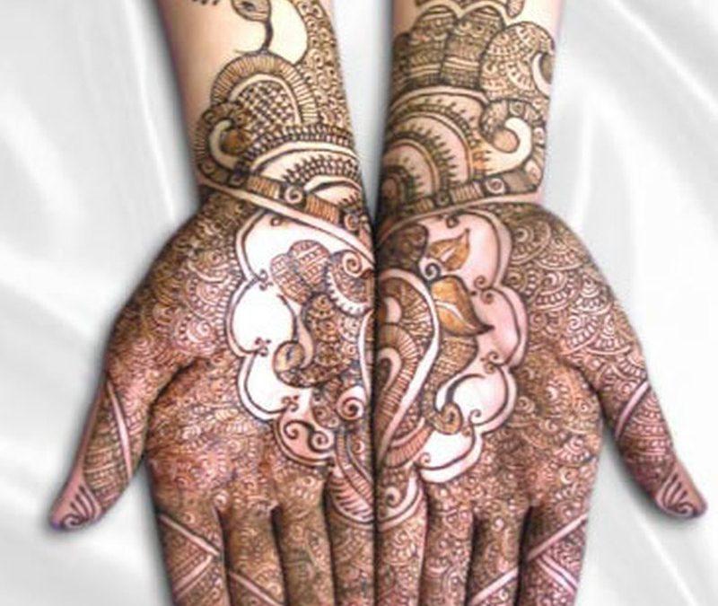 Full palm henna tattoo design