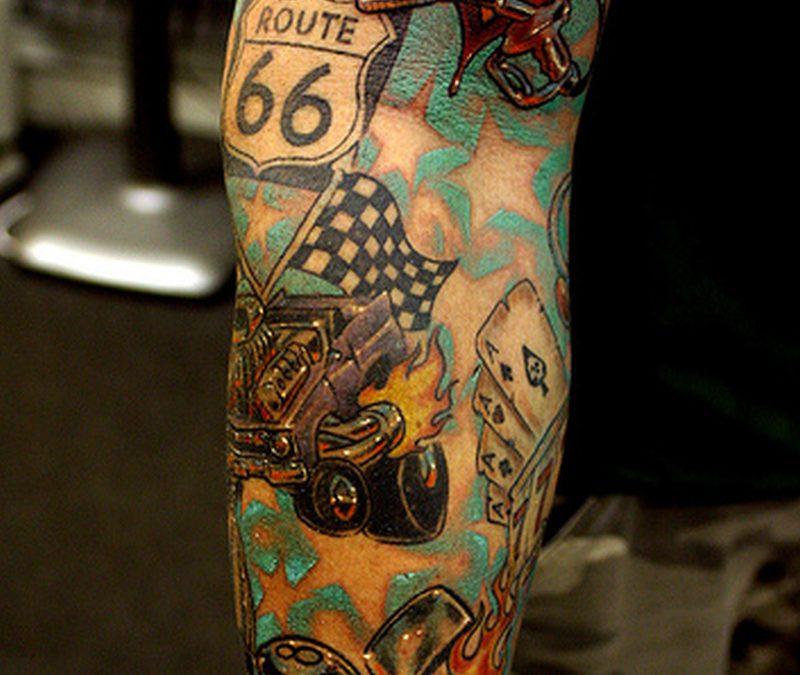 Full sleeve car tattoo design
