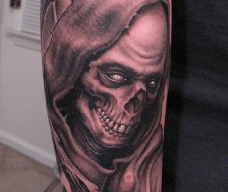 Full sleeve grim reaper tattoo design