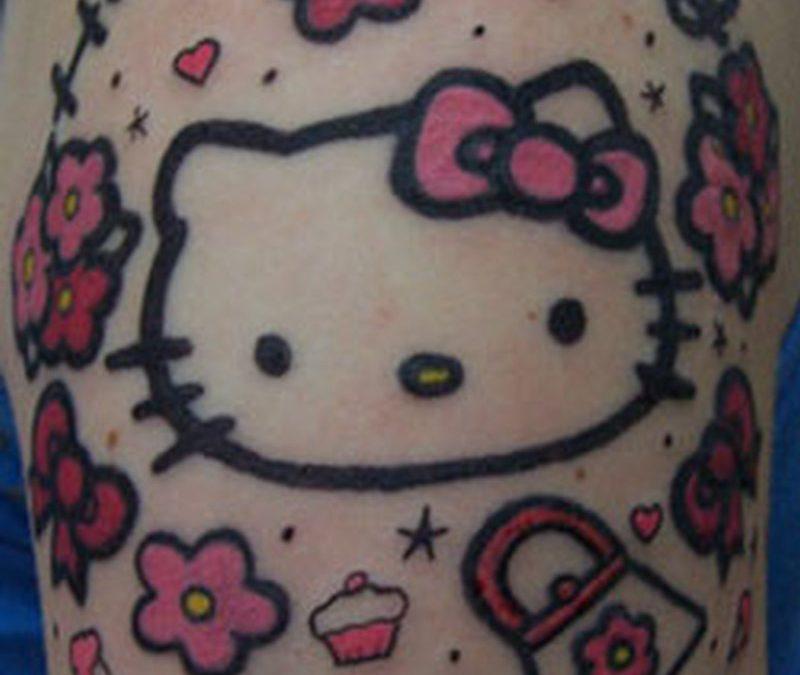 Funky hello kitty tattoo design